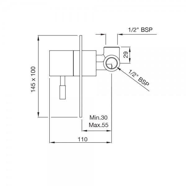 Single Lever In-wall Manual Shower Valve