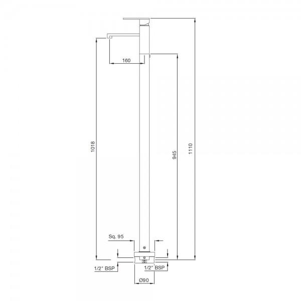 Floor Mounted Single Lever Basin Mixer