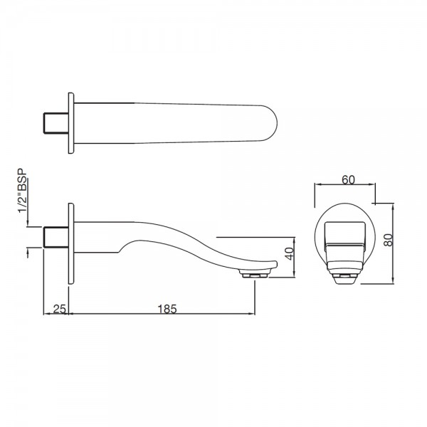 Tiaara Bath Spout with Wall Flange