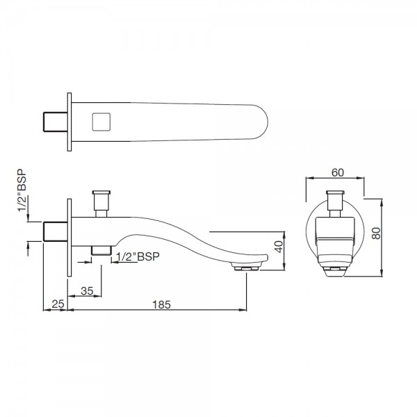 Tiaara Bath Spout with Diverter & Wall Flange