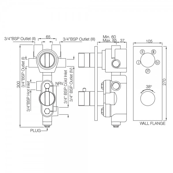 Thermatik-R in-wall thermostatic shower valve